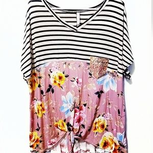 Beautiful Striped and Flowered V-neck Top